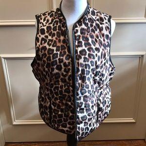 Chicos Reversible Leopard Nylon Vest Size 3